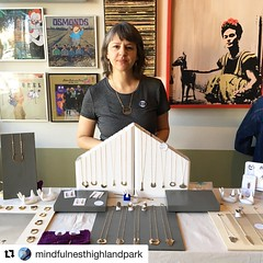 #Repost @mindfulnesthighlandpark  Thank you to the lovely ladies at Mindfulnest for this kind post yesterday!  ・・・ This is Jennifer, the incredible muse that makes those incredible rings @porterness ! She's here until 4pm today to show you the shiny thing