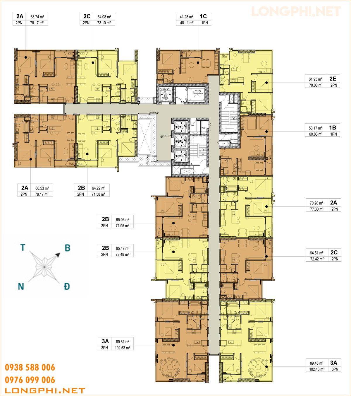 Mặt bằng tầng block C dự án khu căn hộ Kingdom 101 quận 10, TP.HCM.