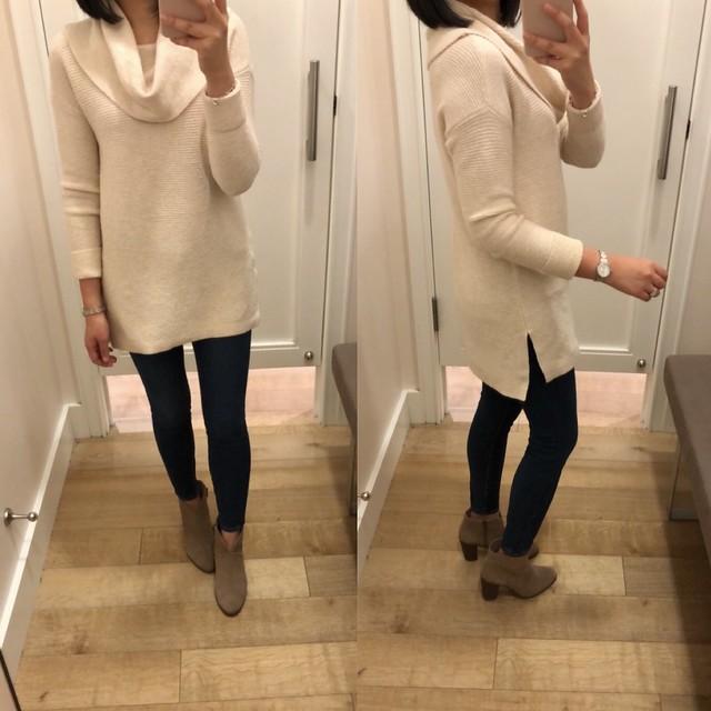 LOFT Textured Cowlneck Tunic Sweater, size XXSP