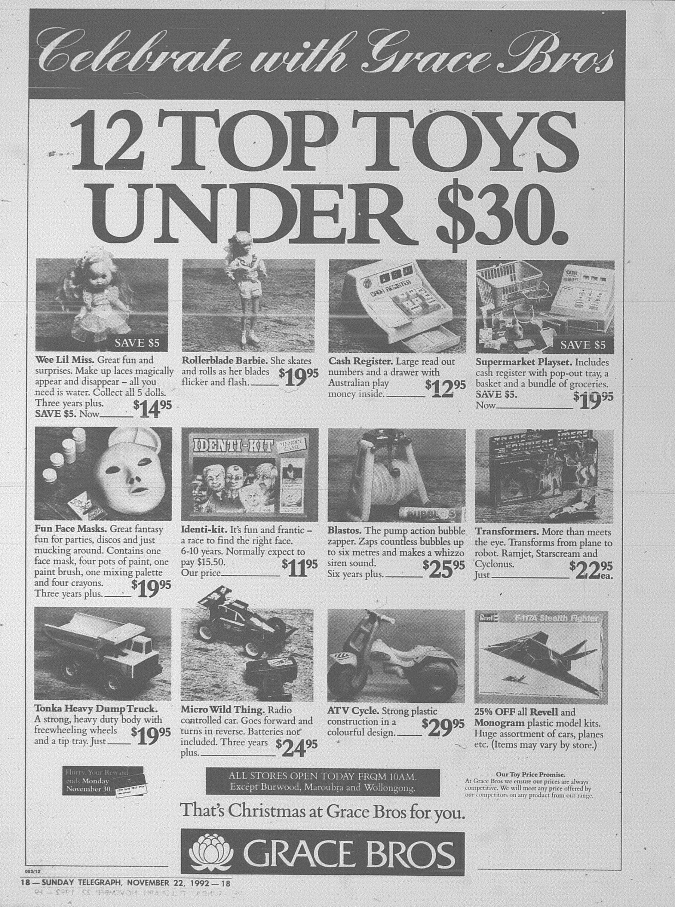 Grace Bros Ad November 22 1992 sunday telegraph 18