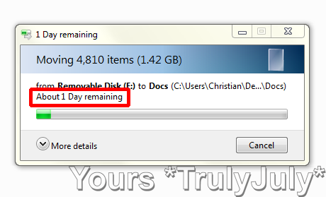 Really Windows, it takes you 1 day to move not even 2 gigs?