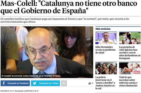 12g24 LV Mas Colell Cataluña no tiene otro banco que el gobierno de España