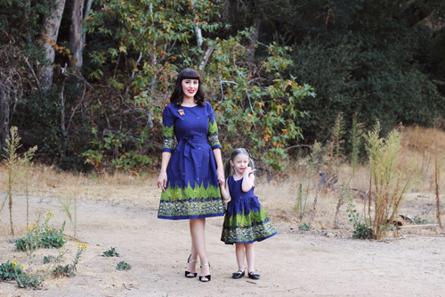 Palava Beatrice Dress Long Sleeves in Navy Woodland Martha Dress in Navy Woodland