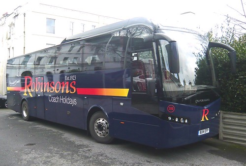 BU14 EFP 'Robinsons Coach Holidays' No. 286, Volvo B11R / Jonckheere JHV on 'Dennis Basford's railsroadsrunways.blogspot.co.uk'