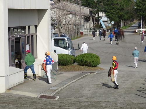金沢競馬場の厩舎へ戻る馬たち