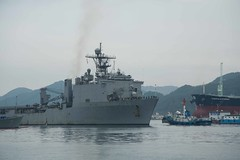 The amphibious dock landing ship USS Ashland (LSD 48) returns to Fleet Activities Sasebo, Nov. 8. (U.S. Navy/MC2 Jordan Crouch)