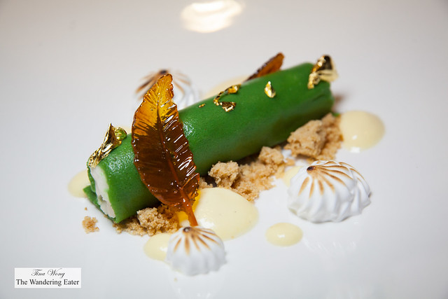 Marzipan, cream, edible gold leaf, caramel leaf-shaped candy, toated meringue, sage custard