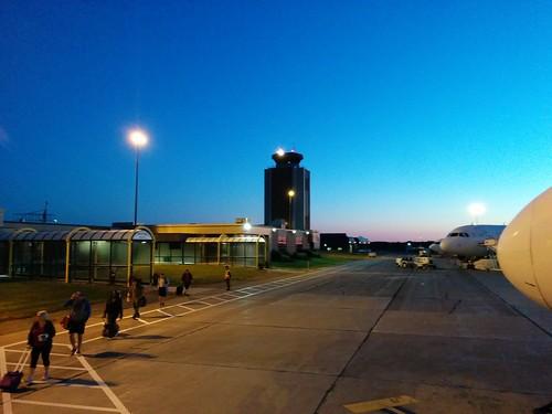 Boarding #pei #princeedwardisland #charlottetown #charlottetownairport #dawn #blue #airplane #latergram
