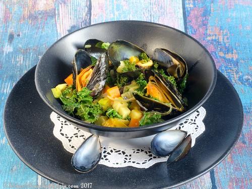 Curry-Muscheln mit Grünkohl (1)