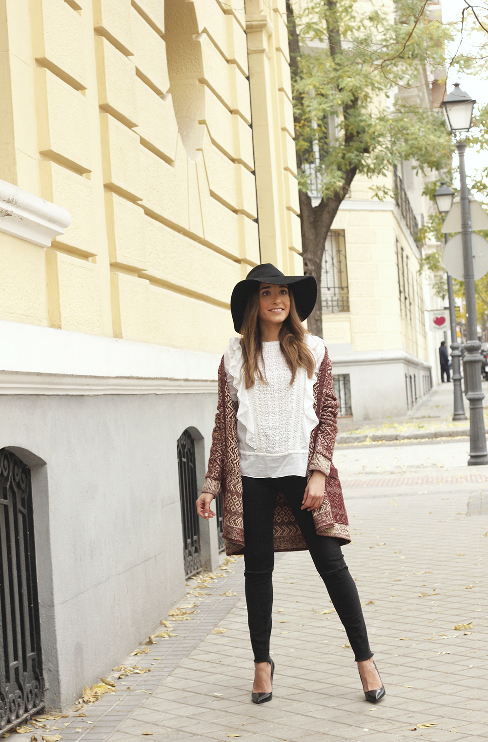 white blouse cardigan black jeans hat heels mdm fashion casual outfit05