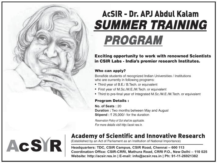 ACSIR Scholarship