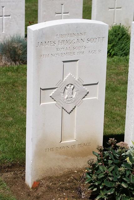J.H. Scott, Royal Scots, 1918, War Grave, Trelincthun