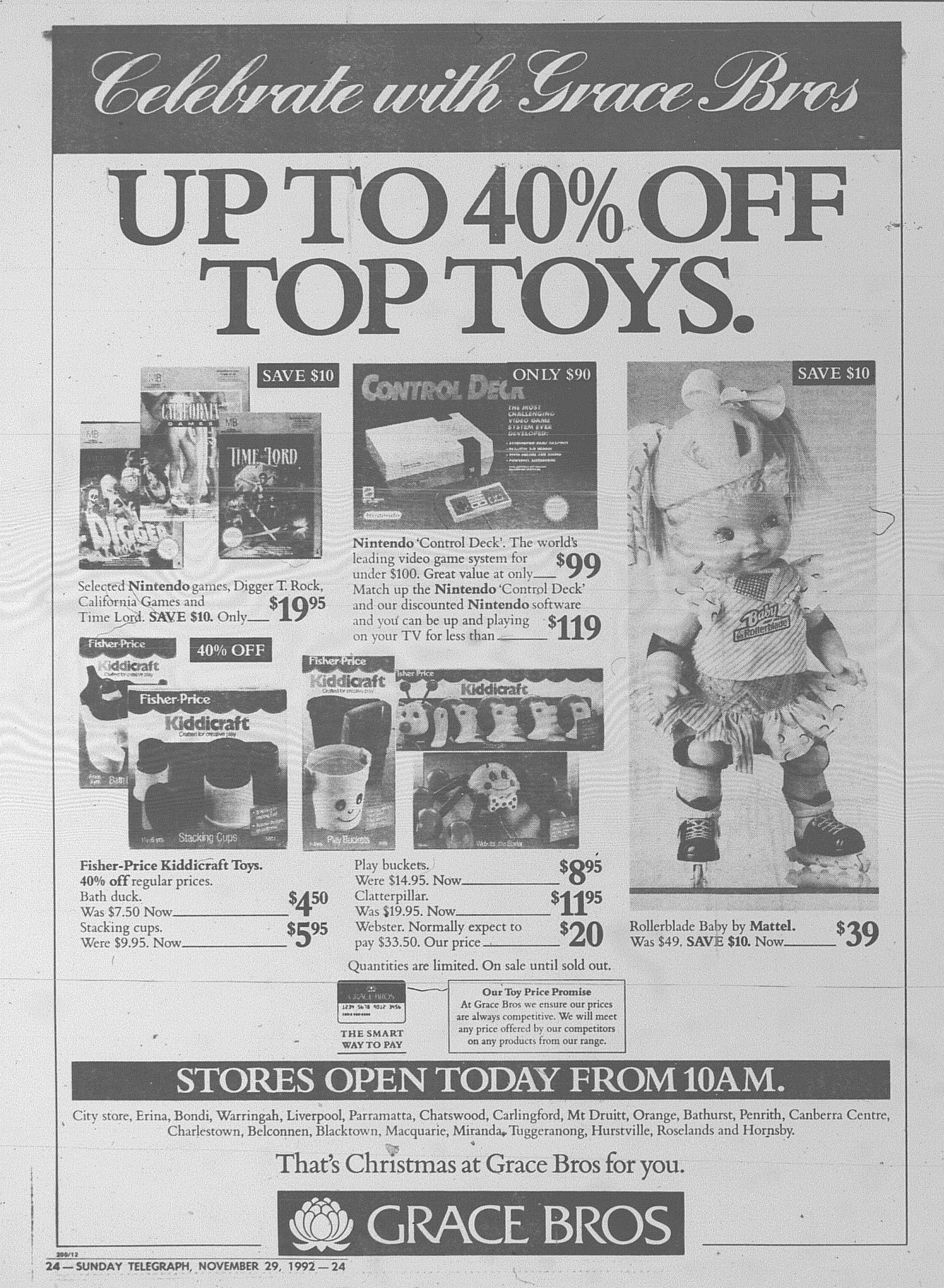 Grace Bros Ad November 29 1992 sunday telegraph