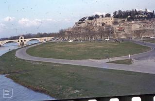 Avignon city wall distant view of Pont St Benezet