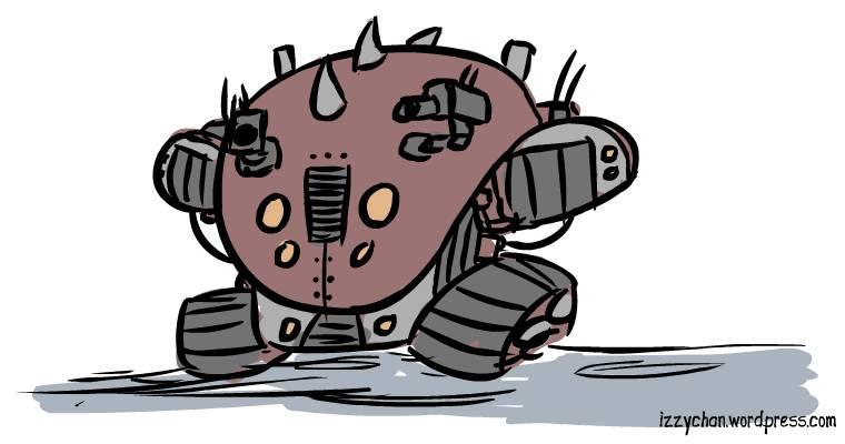 round steampunk red robot on tank tracks