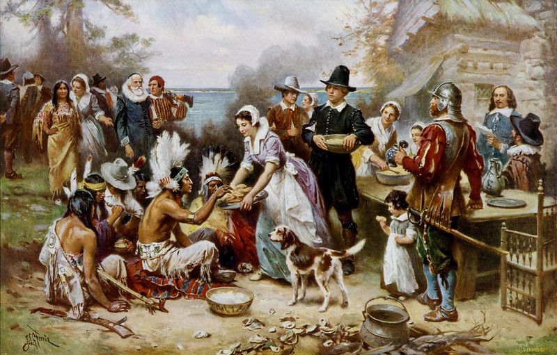 The First Thanksgiving by Jean Leon Gerome Ferris, 1915