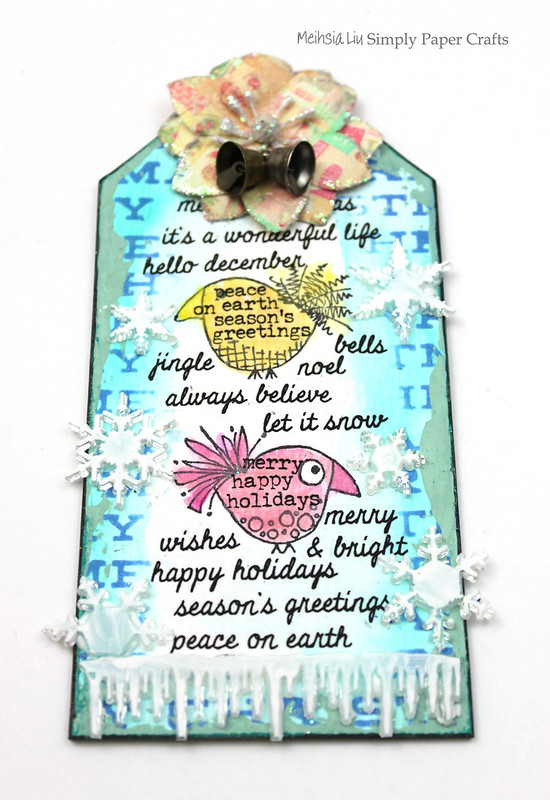 Meihsia Liu Simply Paper Crafts Quick and Easy Christmas Gift Tag Simon Says Stamp Paper Artsy Prima Flower Tim Holtz