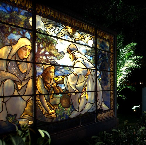 Morse Museum of American Art. The Katharine Hamlin memorial window was created circa 1908 by Tiffany Studios for the chapel at the Association for the Relief of Respectable, Aged, and Indigent Females in New York City.