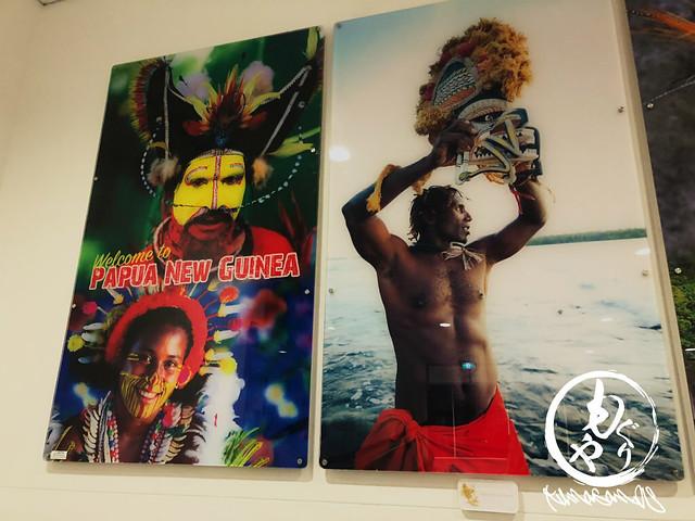 パプアニューギニアっぽい感じの写真に囲まれて、いよいよ着いたんだなと実感w
