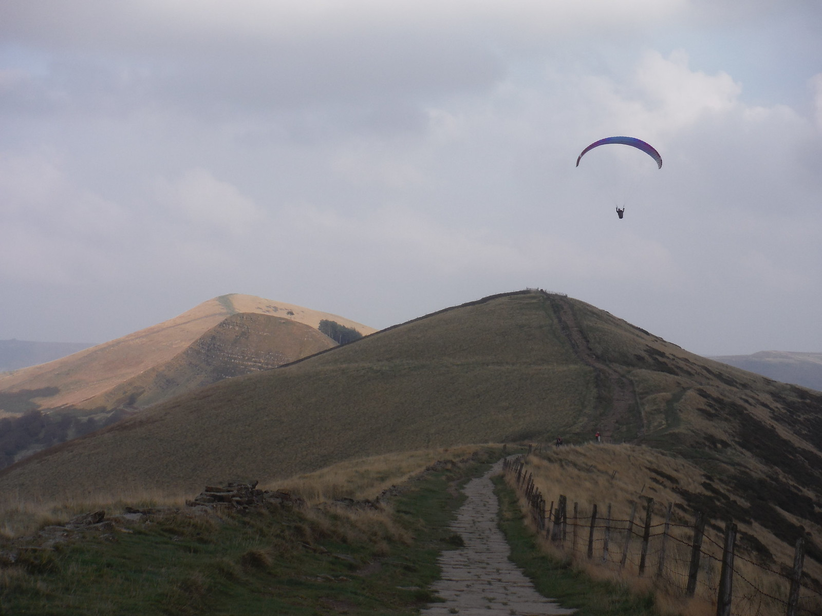 Paraglider over Hollins Cross, with Back Tor and Lose Hill behind SWC Walk 302 - Bamford to Edale (via Win Hill and Great Ridge)