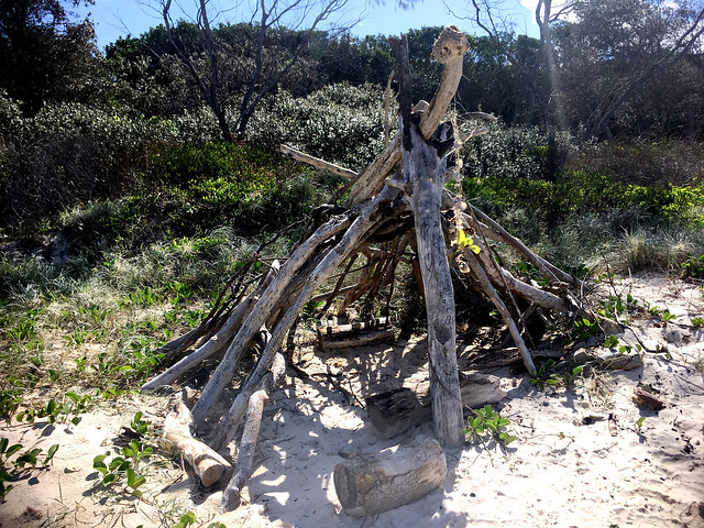 We found a teepee on the beach.