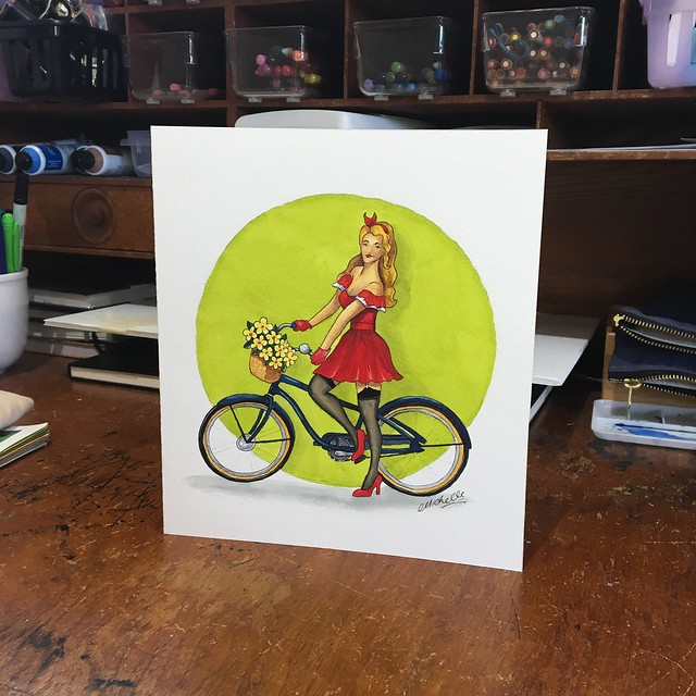 Pinup cycle girl