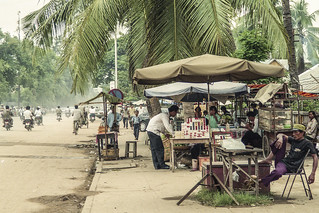 Vendors just north of the main business district in Phnom Pehn on Monivong Boulevard in 1992.