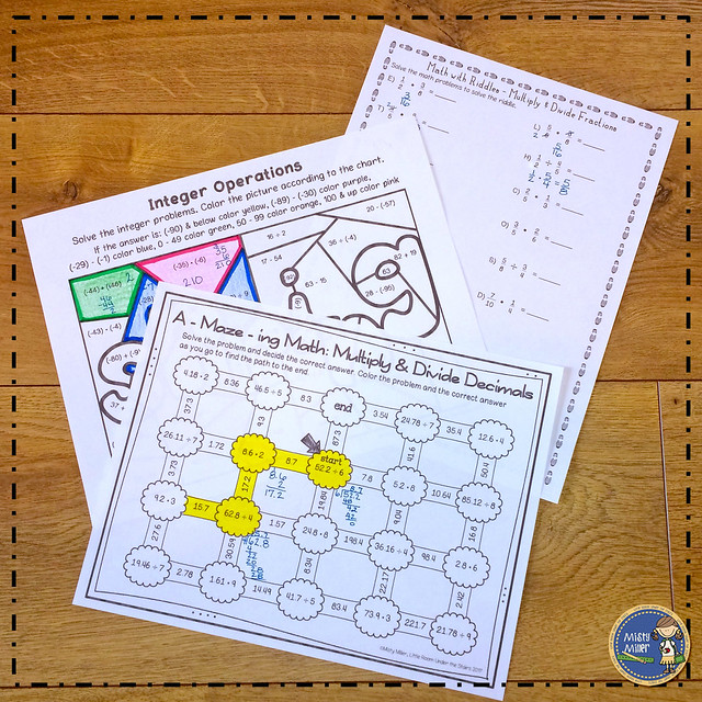 after tests: things for early finishers to do after a test; multiply and divide decimals maze; multiply and divide fractions math riddle; integer operations color page