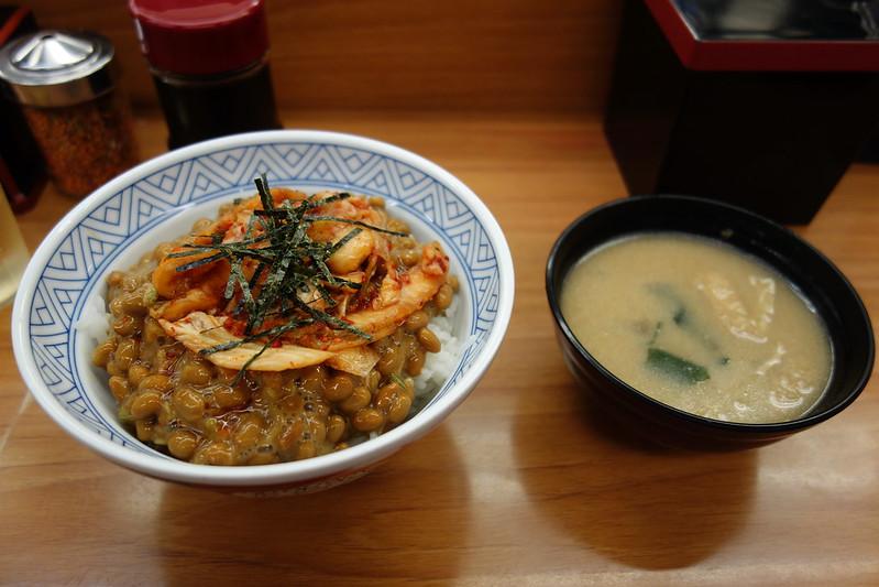 Nattou rice bowl with Miso soup@ Donburi-Tarou , Myogadani , Tokyo
