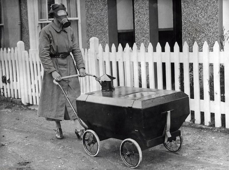 1938. Gas war resistant pram. Kent, England