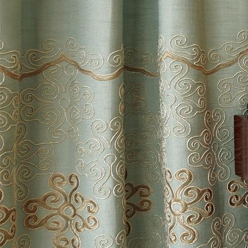 穗花結 簡約 中國結 立體浮線繡花 半遮光無接縫窗簾布 DA2790009