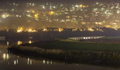 launceston tasmania night evening tamar tamarriver city suburbs trevallyn river water