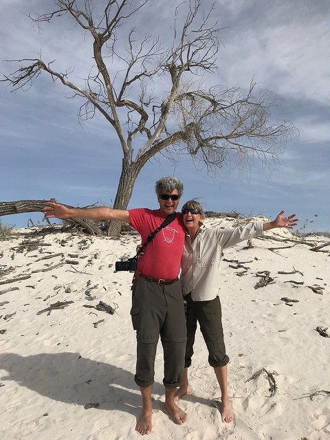 White Sands Linda and Pierre with tree