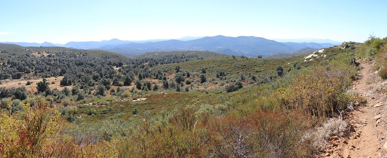 Panorama view south from the Oakzanita Trail as we climb toward the peak