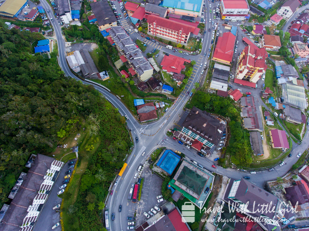 Cross road junction, aerial view at Brinchang, Cameron Highlands