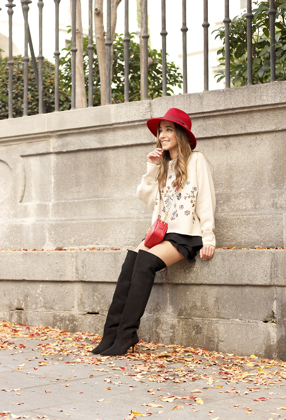beige jersey with embroidered flowers over the knee black boots red hat street style fashion inspiration outfit09