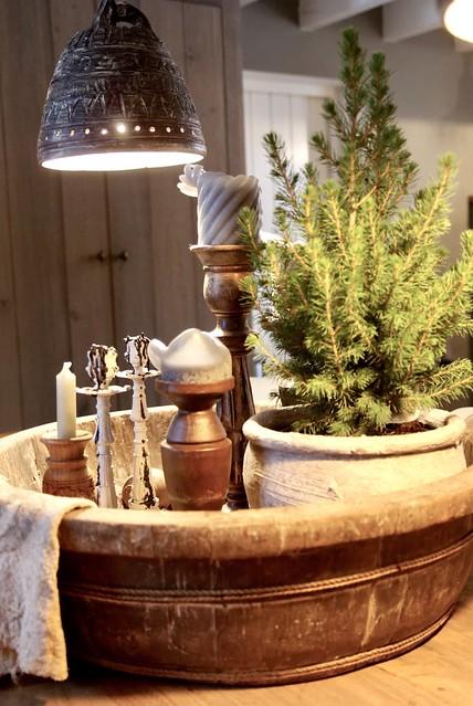 Kerstboompje kandelaars olijfbak