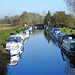 Boats moored at Sandford Lock near Chelmsford, Essex