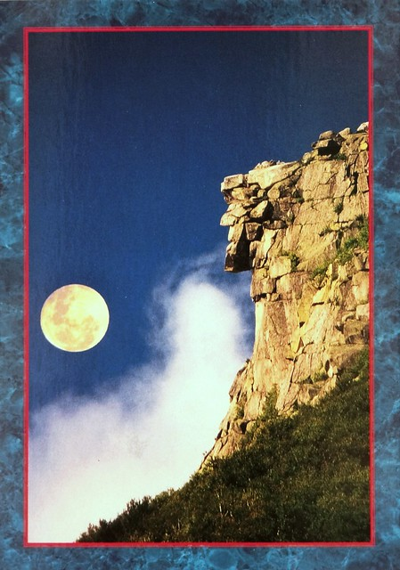 Old Man of the Mountain, Franconia, N.H.  The Great Stone Face is the state symbol. Postcard photo by Roland J. Bergeron
