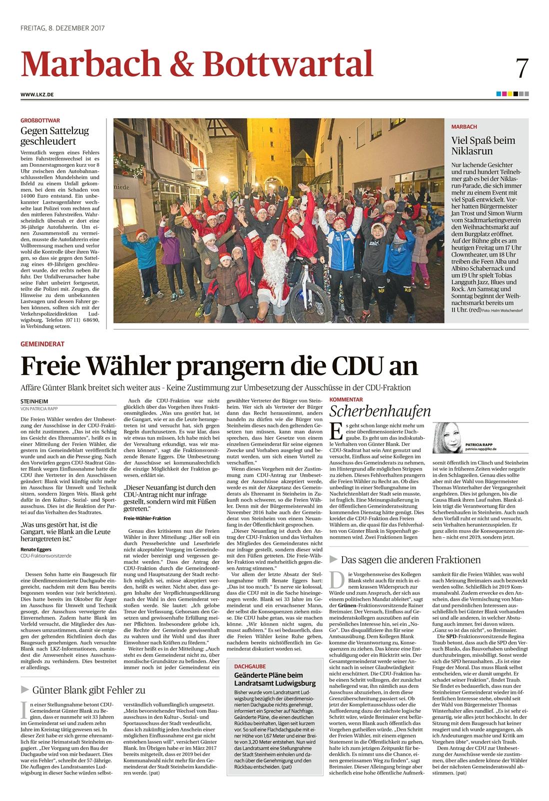 Ludwigsburger Kreiszeitung vom 08.12.2017