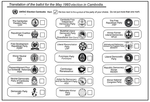 The all-important ballot for Cambodia's 1993 election translated into English to help in the vote counting.