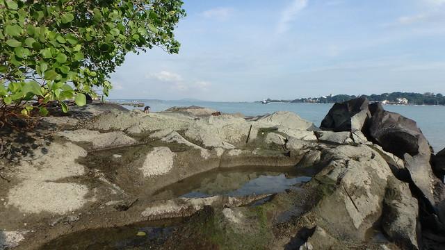 Rocky shore at Pulau Ubin near Ubin Jetty