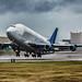 Boeing 747-400LCF Dreamlifter departing PAE (N718BA)
