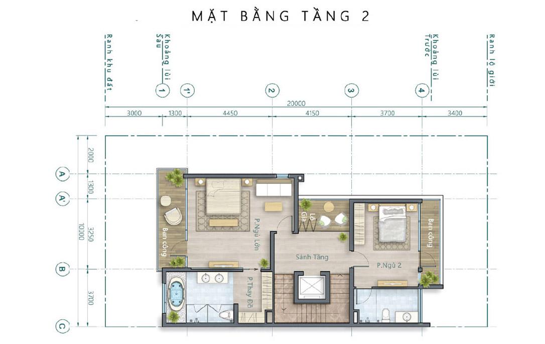 Mặt bằng thiết kế tầng 2 biệt thự song lập Lavila Nhà Bè - Kiến Á.