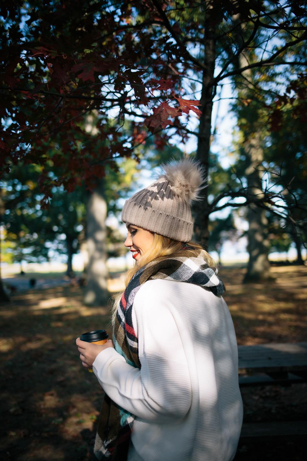 Fall Foliage Pom Pom Beanie Plaid Scarf White Sweater