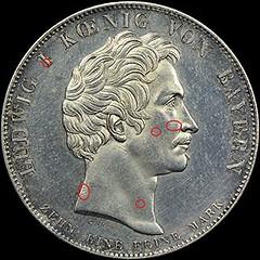 Counterfeit 1825 Bavaria Coronation Thaler1 obverse