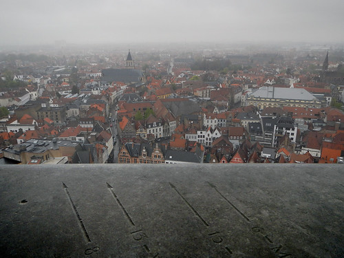 Standing in the Brugge Bell-tower directional arrows point out the way and distance to London and other capitals