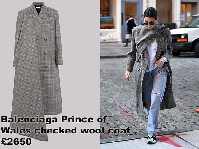 Balenciaga-Prince-of-Wales-checked-wool-coat, Balenciaga coat, Balenciaga Prince of Wales checked wool coat, wrapped up in an oversize grey check coat, baggy stone-wash ripped jeans. Checked wrap coat, wrap coat, Balenciaga wrap coat, baggy jeans, blue baggy jeans, white knitwear