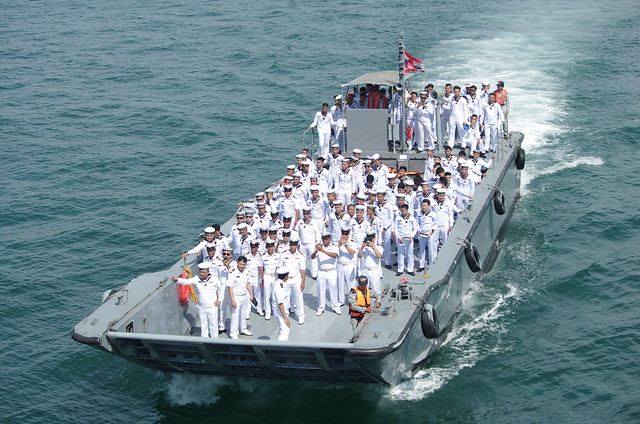 Royal Thai Navy Reception Onboard HTMS Angthong (LPD 791) Endurance Class Landing Platform Dock for ASEAN Naval Personnel ASEAN International Fleet Review Pattaya Bay Chonburi Thailand