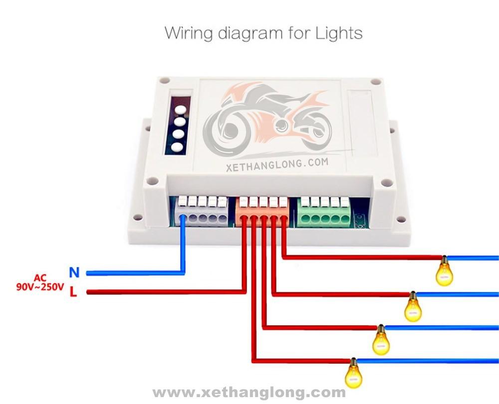 Sơ đồ nối dây cho Sonoff điều khiển 4 bóng đèn